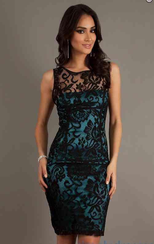 rochie de dantela albastra