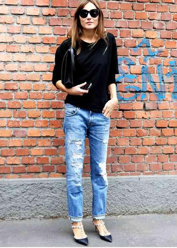 blugi+ tricou negru