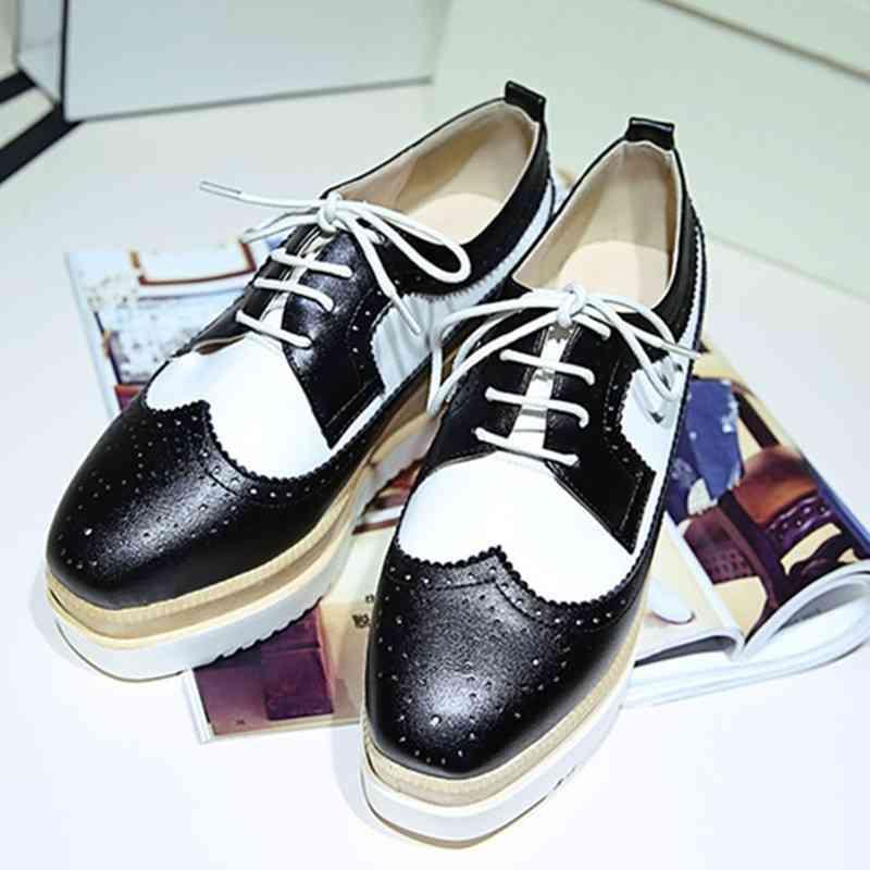 pantofi oxford negru cu alb