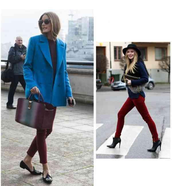 pantaloni visinii+articole albastre
