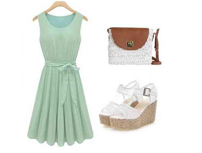 rochie bleu verde+alb