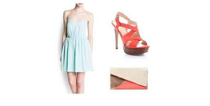 rochie bleu verde+corai