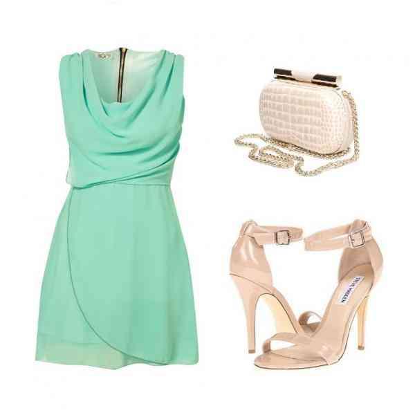 rochie bleu verde+nude