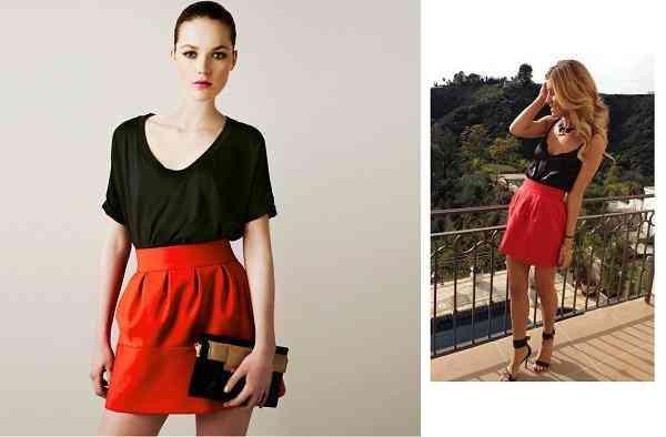 fusta rosie+bluza neagra